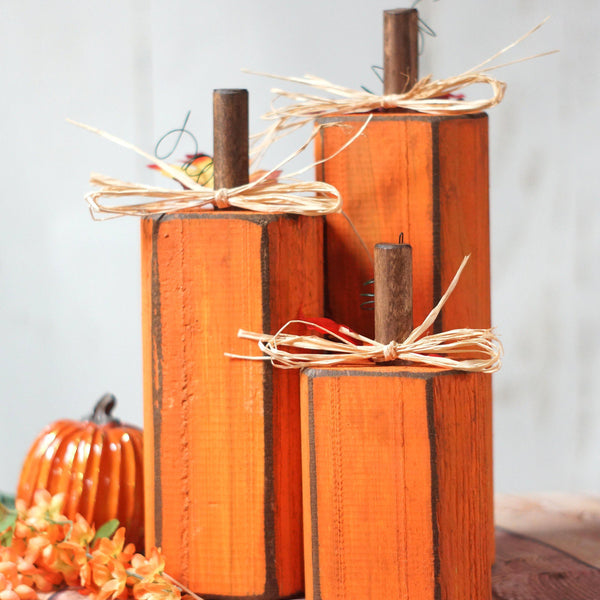 Fall Decor, Orange Wooden Pumpkin Set-Halloween Decor-GFT Woodcraft