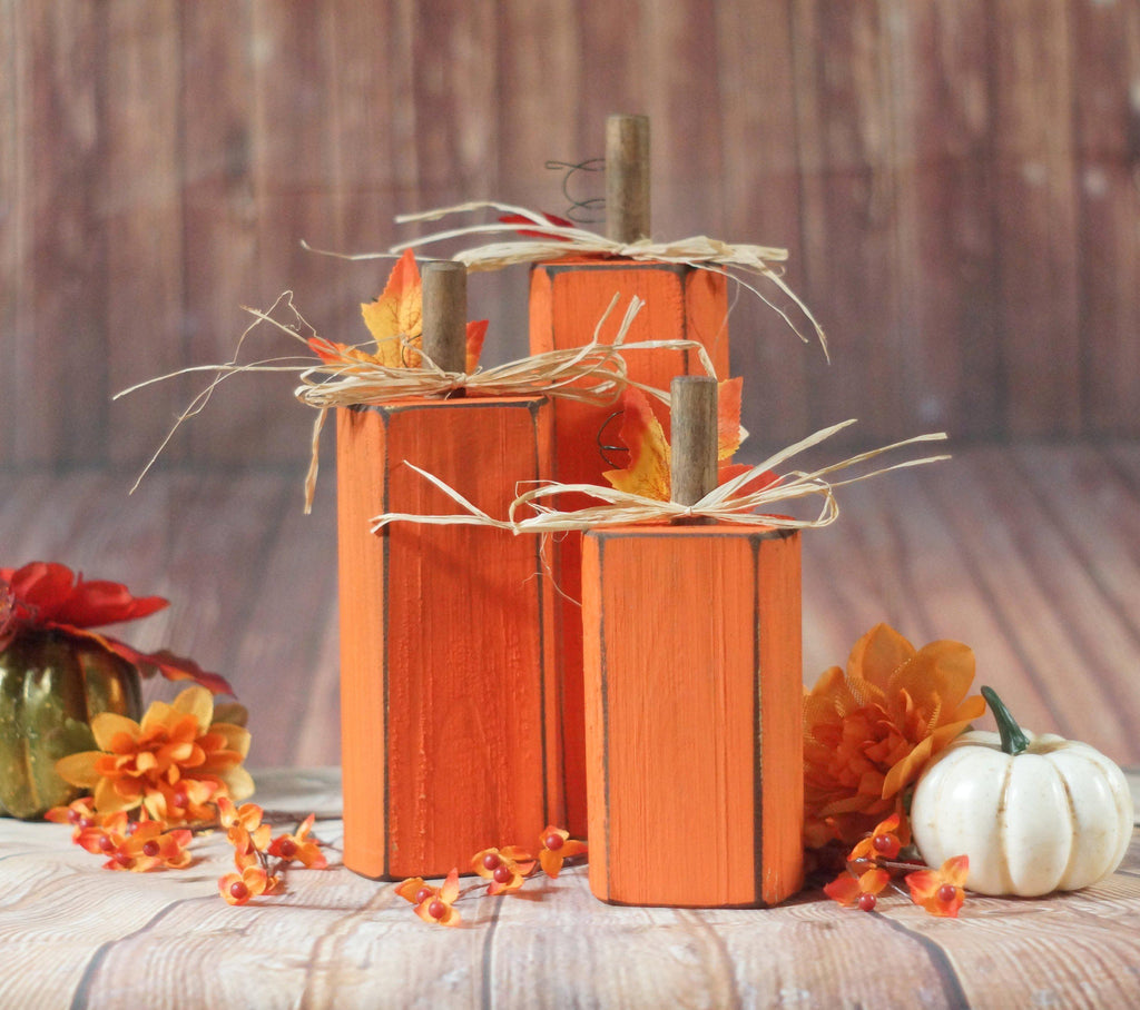 Orange Wooden Pumpkins, Fall Porch Decor-Halloween Decor-GFT Woodcraft