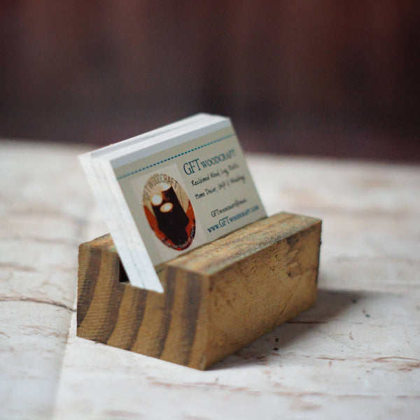 Business Card Holder, Reclaimed Wood-Gifts-GFT Woodcraft