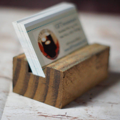Reclaimed Wood Business Card Holder-Gifts-GFT Woodcraft