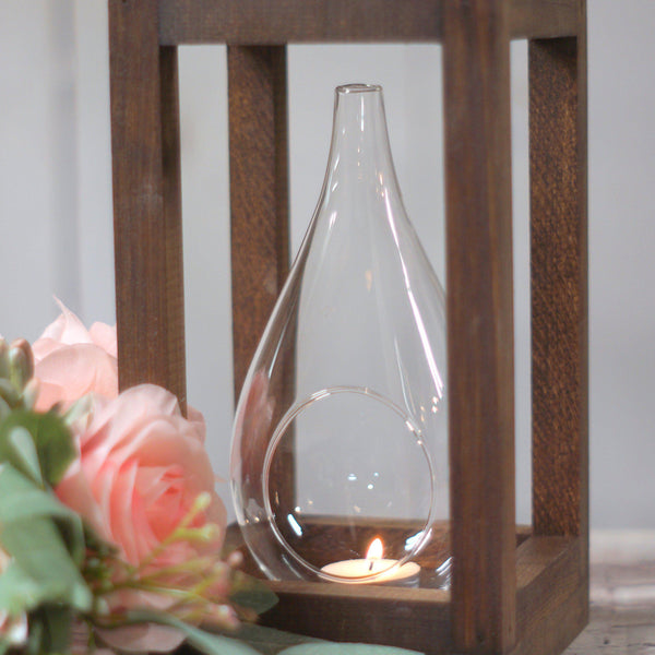 Wood Candle Lantern Centerpiece - Open Top-LANTERN-GFT Woodcraft