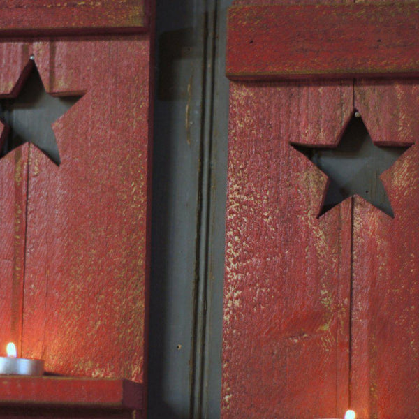Red Primitive Star, Rustic Wall Sconce-Home Decor-GFT Woodcraft