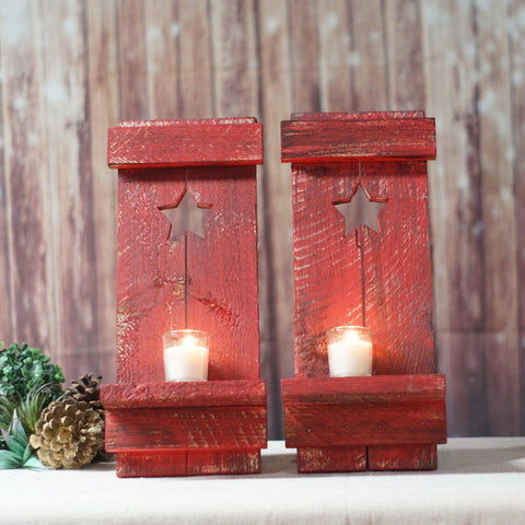Wall Sconce, Red Primitive Star, Rustic-Home Decor-GFT Woodcraft