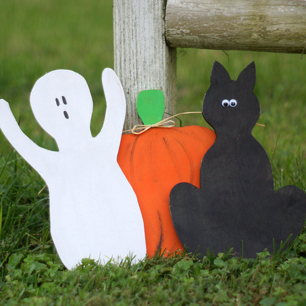 Rustic Halloween, Black Cat, Pumpkin, Ghost Shelf Sitter-Halloween Decor-GFT Woodcraft