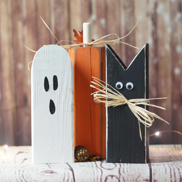 Fall Decor, Black Cat, Pumpkin, Ghost Shelf Sitter-Halloween Decor-GFT Woodcraft