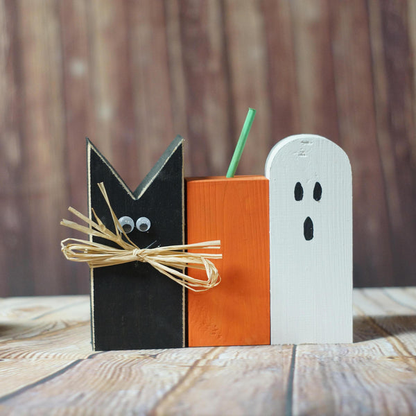 Rustic Halloween Black Cat, Pumpkin, Ghost Shelf Sitter-HALLOWEEN-GFT Woodcraft