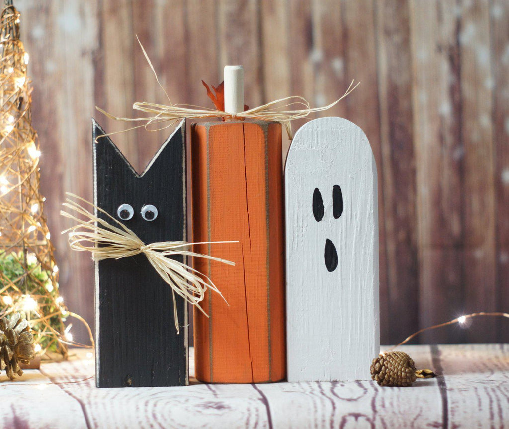Rustic Halloween Black Cat, Pumpkin, Ghost Shelf Sitter,-Halloween Decor-GFT Woodcraft
