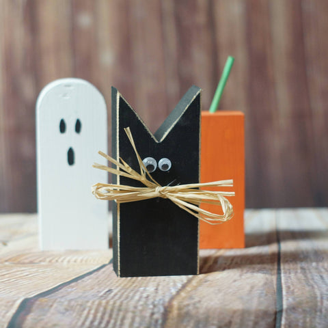 Fall Decor Rustic Halloween Black Cat, Pumpkin, Ghost Shelf Sitter-HALLOWEEN-GFT Woodcraft