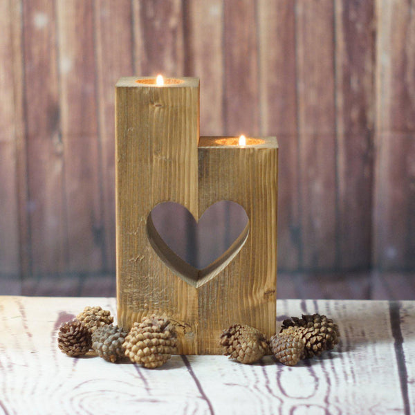 Rustic Tealight Holder-Candle Holders-GFT Woodcraft