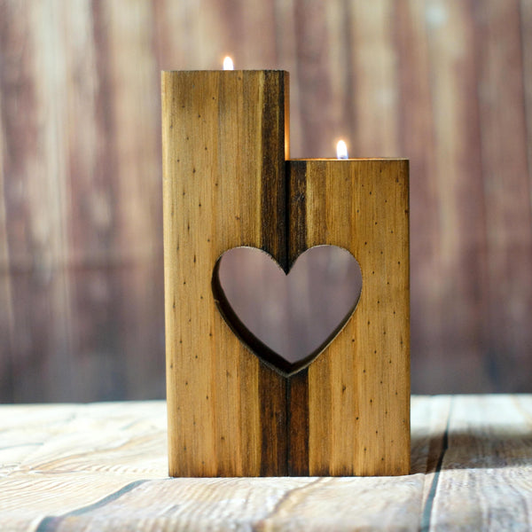 Heart Candle Holder-Candle Holders-GFT Woodcraft