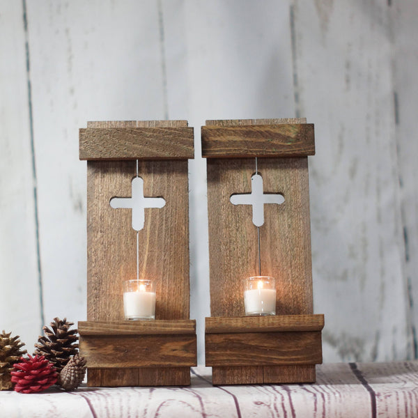 Rustic Wooden Cross Wall Sconce Set-HOME DECOR-GFT Woodcraft