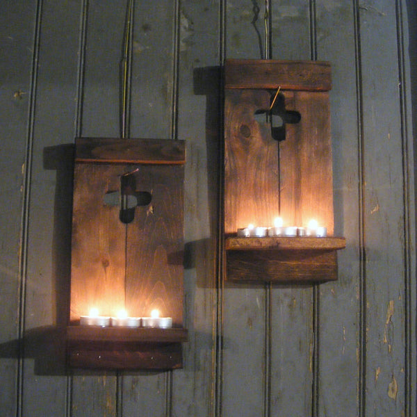 Wall Sconce Set, Rustic Wooden Cross-HOME DECOR-GFT Woodcraft