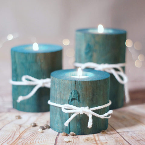 Log Candle Holders, Set of 3 Aqua Blue-Candle Holders-GFT Woodcraft