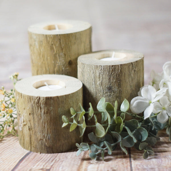 Set of 3 Log Candle Holders-Candle Holders-GFT Woodcraft