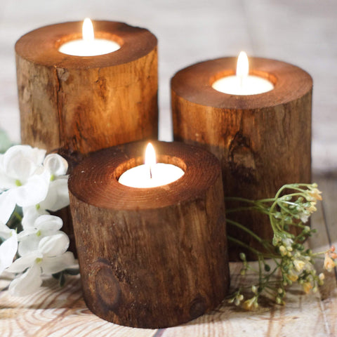 Log Candle Holders, Set of 3-Candle Holders-GFT Woodcraft