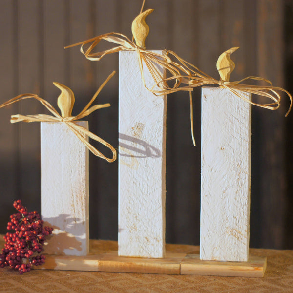 Christmas Candle Set of 3, White-CHRISTMAS-GFT Woodcraft