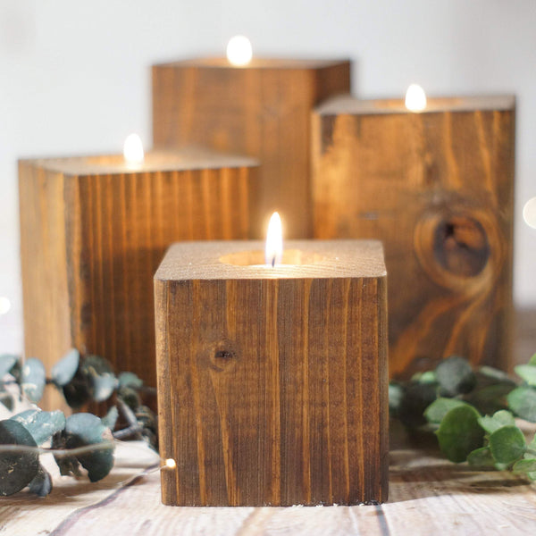 Candle Holder Set of 4, Reclaimed Wood-Candle Holders-GFT Woodcraft