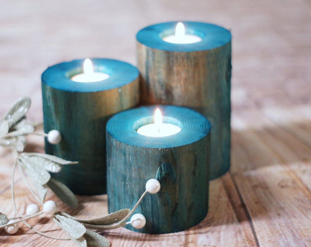 Log Candle Holders, Beach Decor-Candle Holders-GFT Woodcraft