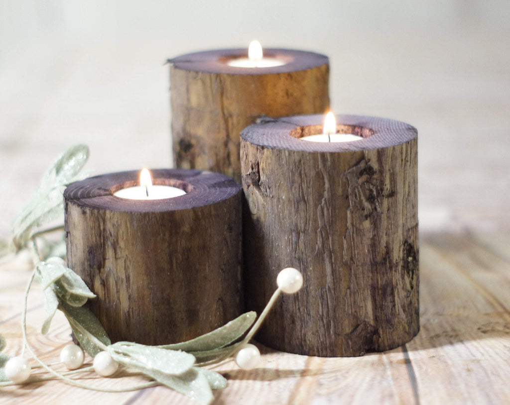 Wood candle Holders, Rustic-Candle Holders-GFT Woodcraft