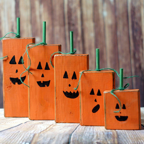 Wood Family Pumpkins, Rustic Halloween Decor-HALLOWEEN-GFT Woodcraft