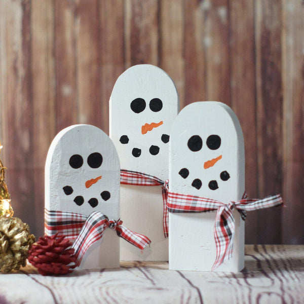Christmas Snowman Family with Scarves-CHRISTMAS-GFT Woodcraft