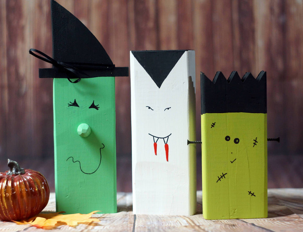 Wood Witch, Vampire, Frankenstein, Rustic Fall decor-HALLOWEEN-GFT Woodcraft