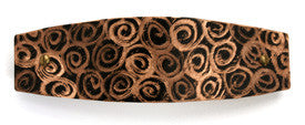 Hair barrette. Black copper, Spirals engraving. French clip.