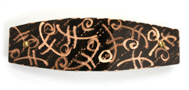 Hair barrette. Black copper, Fiddle engraving. French clip.