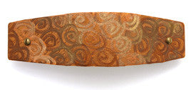 Hair barrette. Orange copper, Spirals engraving. French clip.