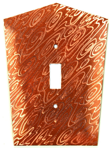 Metal Switch Cover. Penny Copper, Woodgrain. Sealed. Screws incl.
