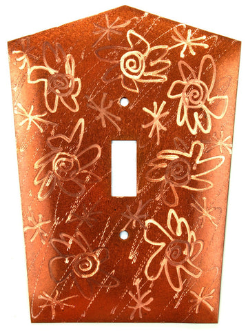 Metal Switch Cover. Penny Copper, Flower Power. Sealed. Screws