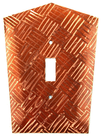 Metal Switch Cover. Penny Copper, Parquet. Sealed. Screws inc
