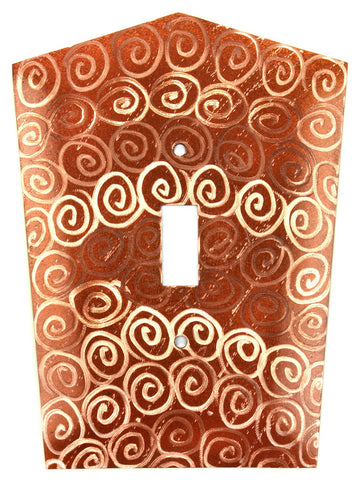 Metal Switch Cover. Penny Copper, Spirals. Sealed. Screws incl.