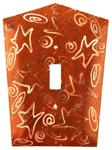 Metal Switch Cover. Penny Copper, Stars. Sealed. Screws incl.