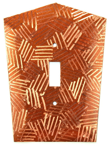 Metal Switch Cover. Penny Copper, Crosshatch. Sealed. Screws incl.
