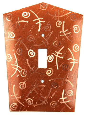 Metal Switch Cover. Penny Copper, Fiddle. Sealed. Screws incl.