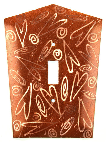 Metal Switch Cover. Penny Copper, Hearts. Sealed. Screws incl.