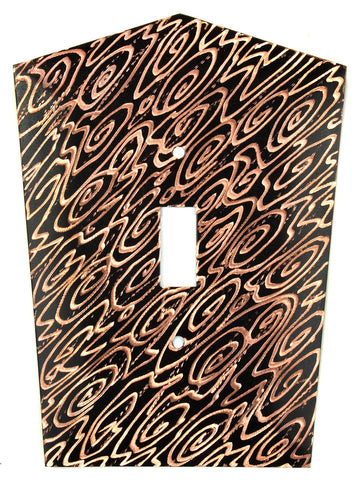 Metal Switch Cover. Black copper, Woodgrain. Sealed. Screws.