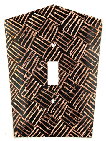 Metal Switch Cover. Black copper, Parquet. Sealed. Screws.