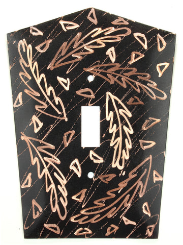 Metal Switch Cover. Black copper, Frond. Sealed. Screws.