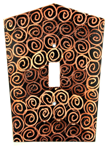 Metal Switch Cover. Black copper, Spirals. Sealed. Screws.