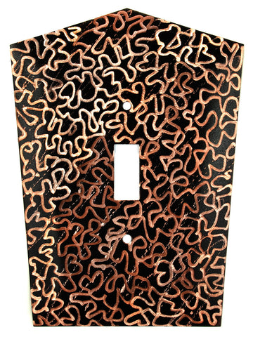 Metal Switch Cover. Black copper, Maze. Sealed. Screws.