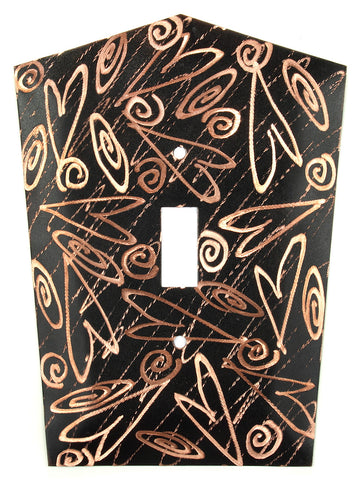 Metal Switch Cover. Black copper, Hearts. Sealed. Screws.