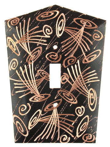 Metal Switch Cover. Black copper, Fireworks. Sealed. Screws