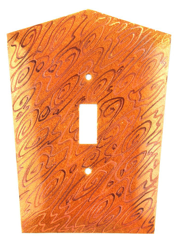 Metal Switch Cover. Orange Copper, Woodgrain. Sealed. Screws incl.