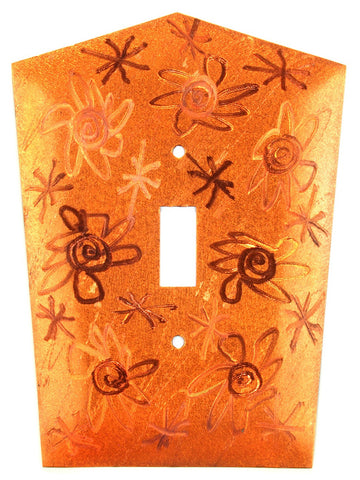 Metal Switch Cover. Orange Copper, Flower Power. Sealed. Screws incl.