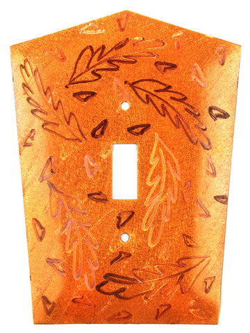 Metal Switch Cover. Orange Copper, Frond. Sealed. Screws incl.
