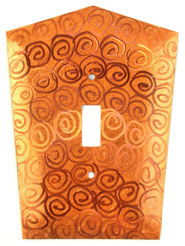 Metal Switch Cover. Orange Copper, Spirals. Sealed. Screws incl.