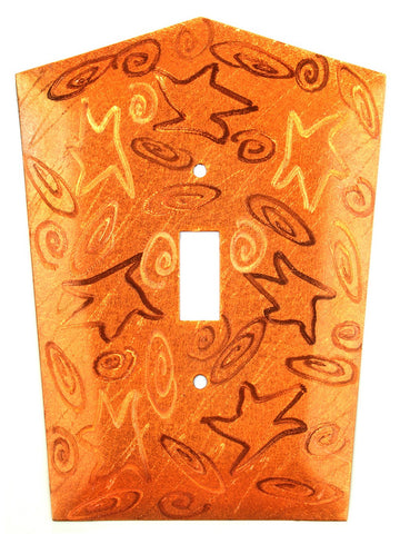 Metal Switch Cover. Orange Copper, Stars. Sealed. Screws incl.