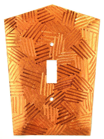Metal Switch Cover. Orange Copper, Crosshatch. Sealed. Screws incl.